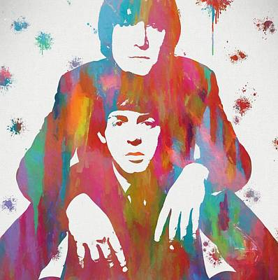 Ringo Starr Mixed Media - Colorful Lennon And Mccartney by Dan Sproul