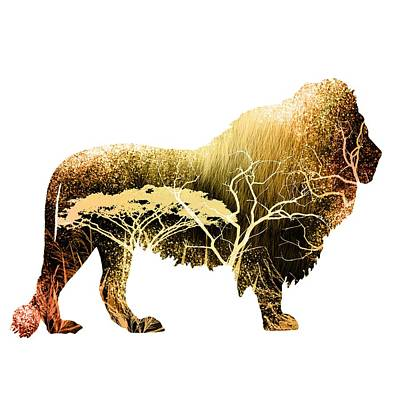 Nature Digital Art - Colorful Lion Art by Diana Van
