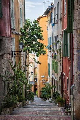 Colorful Old Street In Villefranche-sur-mer Print by Elena Elisseeva