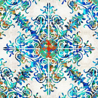 Blue And Red Painting - Colorful Pattern Art - Color Fusion Design 6 By Sharon Cummings by Sharon Cummings
