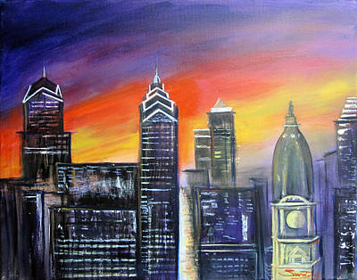 Colorful Philly Skyline Original by Sal  Scarduzio