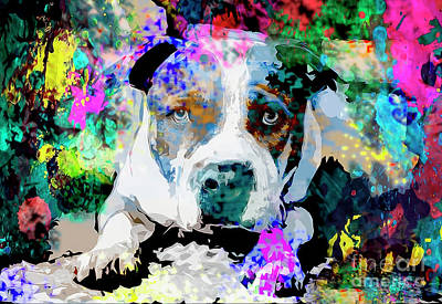 Abstract Dog Painting - Colorful Pitbull by Jon Neidert