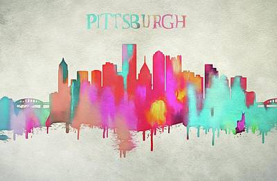 Penguin Mixed Media - Colorful Pittsburgh Skyline Silhouette by Dan Sproul
