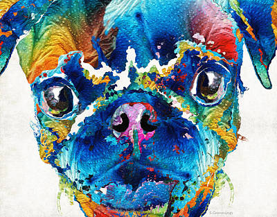 Colorful Pug Art - Smug Pug - By Sharon Cummings Print by Sharon Cummings