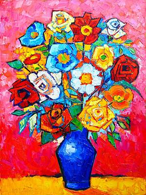 Vivid Colour Painting - Colorful Roses And Camellias - Abstract Bouquet Of Flowers by Ana Maria Edulescu