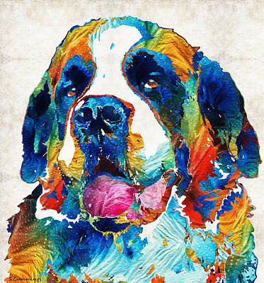 Colorful Saint Bernard Dog By Sharon Cummings Print by Sharon Cummings