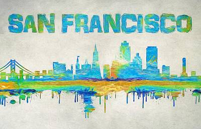 Golden Gate Mixed Media - Colorful San Francisco Skyline Silhouette by Dan Sproul