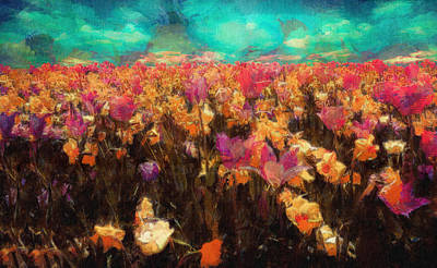 Colorful Flower Painting - Colorful Spring Flowers Field Landscape Painting by Wall Art Prints
