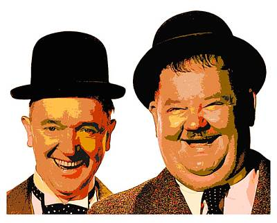 Colorful Stan And Ollie  Print by Samuel Majcen