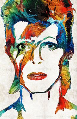 Lead Singer Painting - Colorful Star - David Bowie Tribute  by Sharon Cummings