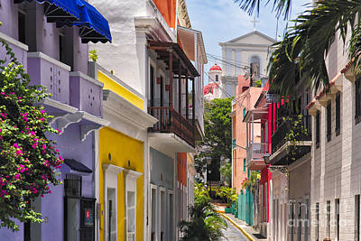 Colorful Street Of Old San Juan Print by George Oze