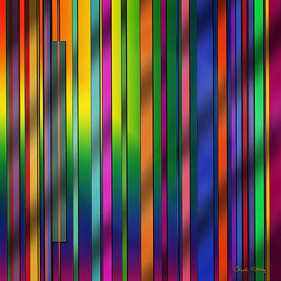 Colorful Abstract Drawing - Colorful Stripes by Chuck Staley