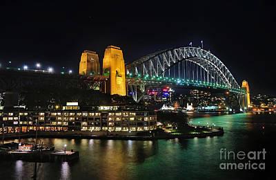Luna Park Photograph - Colorful Sydney Harbour Bridge By Night 2 by Kaye Menner