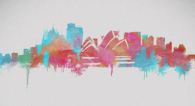 Sydney Skyline Mixed Media - Colorful Sydney Skyline Silhouette by Dan Sproul