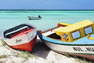 Aruba Photograph - Colorful Traditional Fishing Boats by George Oze