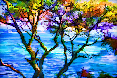 Plein Air Digital Art - Colorful Tree Abstraction by Lilia D