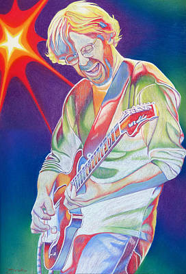 Guitar Drawing - Colorful Trey Anastasio by Joshua Morton