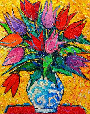 Bouquets Of Pink Flowers Green Blue Painting - Colorful Tulips Modern Impressionist Palette Knife Oil Painting Floral Art By Ana Maria Edulescu by Ana Maria Edulescu