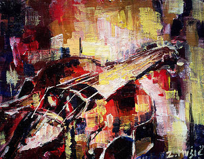 Music Themed Art Painting - Colorful Violin  by Zlatko Music