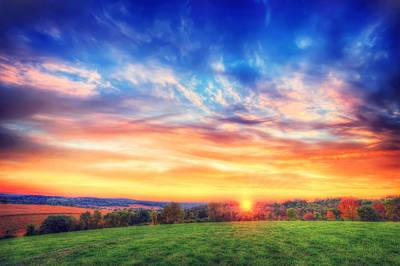 Colorful Warm Fall Sunset - Retzer Nature Center - Waukesha,wi. Print by Jennifer Rondinelli Reilly