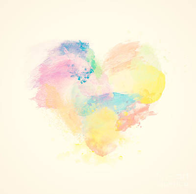 Ink Photograph - Colorful Watercolor Heart On Canvas by Michal Bednarek