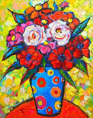 With Texture Painting - Colorful Wild Roses Bouquet - Original Impressionist Oil Painting by Ana Maria Edulescu
