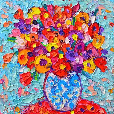 Vivid Colour Painting - Colorful Wildflowers - Abstract Floral Art By Ana Maria Edulescu by Ana Maria Edulescu
