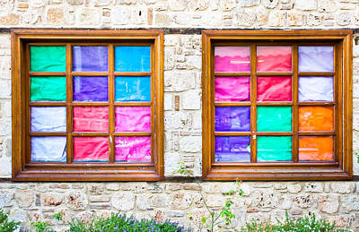 Brick Schools Photograph - Colorful Windows by Tom Gowanlock