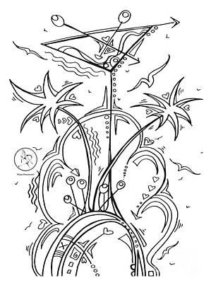 Martini Drawing - Coloring Page With Beautiful Tropical Martini Drawing By Megan Duncanson by Megan Duncanson