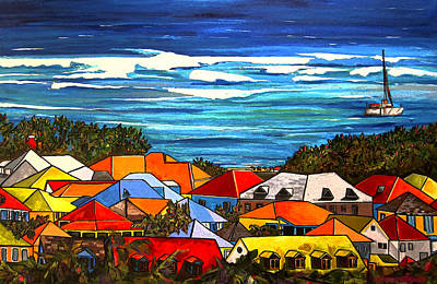 Roofs Painting - Colors Of St Martin by Patti Schermerhorn