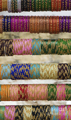 Coloured Glass Indian Bangles Print by Tim Gainey