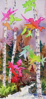 Colourful Birches 1 Print by Mohamed Hirji