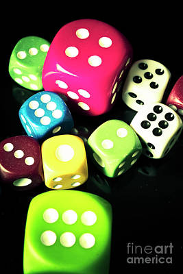 Size Photograph - Colourful Casino Dice  by Jorgo Photography - Wall Art Gallery