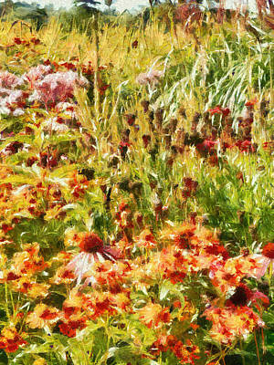 Charming Cottage Digital Art - Colourful Cottage Garden by Dorothy Berry-Lound