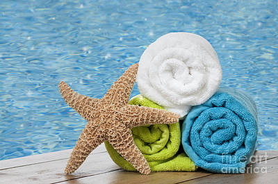Pool Photograph - Colourful Towels by Amanda Elwell