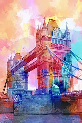 Colorful Abstract Digital Art - Colourful Tower Bridge by Lutz Baar