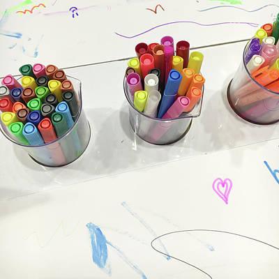 Kindergarten Photograph - Colouring Pens by Tom Gowanlock
