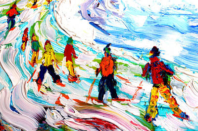 Snowboarder Painting - Colours Down The Piste by Pete Caswell