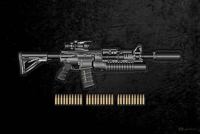 Cartridge Digital Art - Colt  M 4 A 1  S O P M O D Carbine With 5.56 N A T O Rounds On Black Velvet by Serge Averbukh