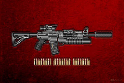 Cartridge Digital Art - Colt  M 4 A 1  S O P M O D Carbine With 5.56 N A T O Rounds On Red Velvet by Serge Averbukh