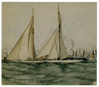 Sailing Vessels Painting - Columbia And Shamrock  America's Cup by Edward Hopper
