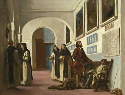 Columbus And His Son At La Rabida Print by Eugene Delacroix