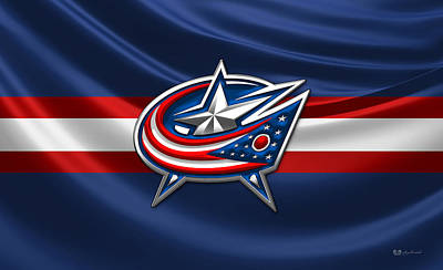 Columbus Blue Jackets - 3 D Badge Over Silk Flag Original by Serge Averbukh