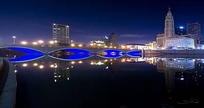 Columbus Ohio Photograph - Columbus Oh Blue Bridge Reflections by Shane Psaltis