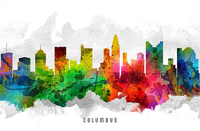 Columbus Ohio Cityscape 12 Print by Aged Pixel