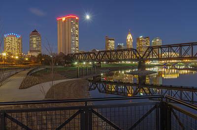 Railroad Bridge Photograph - Columbus Ohio Nightscape by Scott McGuire
