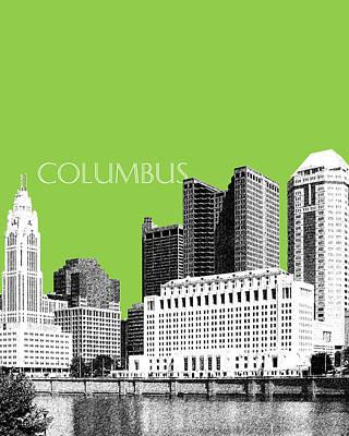 Pen Digital Art - Columbus Ohio Skyline - Olive by DB Artist