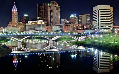 Townscape Photograph - Columbus Over The Scioto by Frozen in Time Fine Art Photography