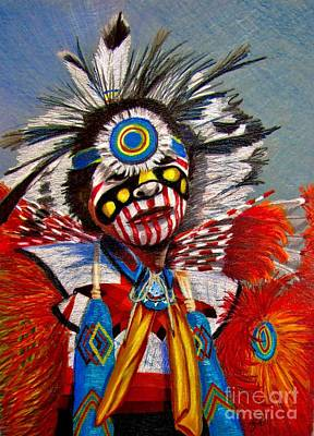 Indian Dance Drawing - Comanche Dance by Marilyn Smith