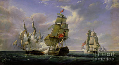 Men Painting - Combat Between The French Frigate La Canonniere And The English Vessel The Tremendous by Pierre Julien Gilbert